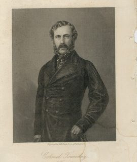 Antique Engraving Print, Colonel Towneley, 1863