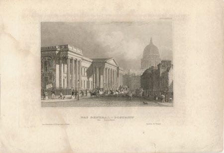 Antique Engraving Print, Das General - Postamt in London, 1840