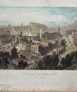Antique Engraving Print, Edinburgh from Calton Hill, 1875