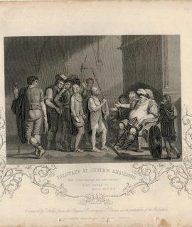 Antique Engraving Print, Falstaff at Justice Shallows, 1837 ca.
