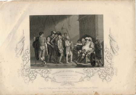 Antique Engraving Print, Falstaff at Justice Shallows, 1837 ca.