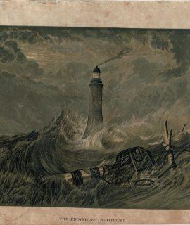 Rare Antique Print, The Eddynstone, Lighthouse, 1870