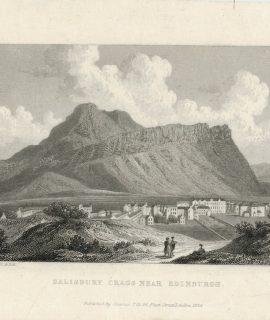 Antique Engraving Print, Salisbury Crags near Edinburgh, 1829
