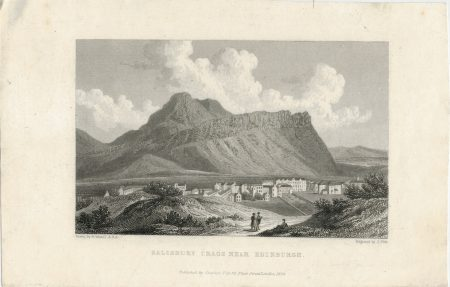 Antique Engraving Print, Salisbury Crags near Edinburgh, 1829