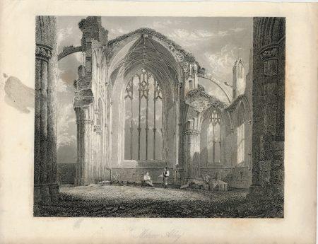Antique Engraving Print, Melrose Abbey, 1860 ca.