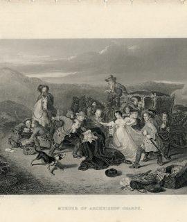Antique Engraving Print, Murder of Archbishop Sharpe, 1830 ca.