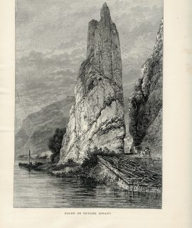 Antique Print, Roche de Bayard, Dinant; The Château de Vêves, 1871