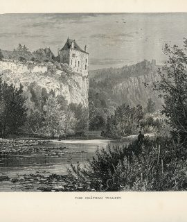Antique Print, The Chateau Walzin; On the Meuse, 1871