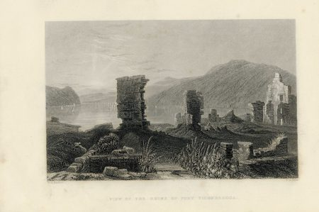 Antique Engraving Print, View of the Ruine of Fort Ticonderoga, 1840