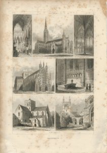 Antique Engraving Print, Salisbury, Winchester, 1851