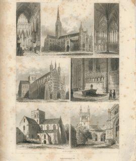Antique Engraving Print, Salisbury, Winchester, 1851