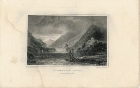 Antique Engraving Print, Llanberis Like, 1840
