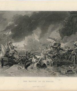 Antique Engraving Print, The Battle of La Hogue, 1835
