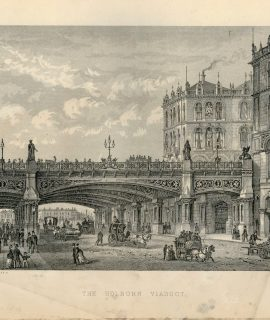Antique Print, The Holborn Viaduct, 1871