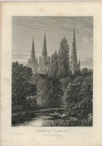 Antique Engraving Print, Lichfield Cathedral, 1860