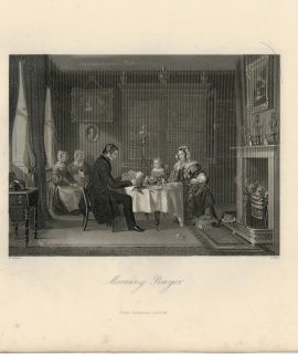 Antique Engraving Print, Morning Prayer, 1840
