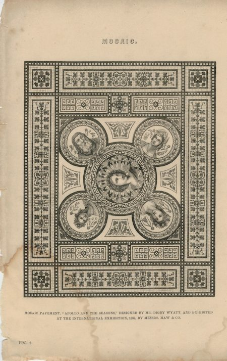 Antique Engraving Print, Mosaic, 1830 ca.