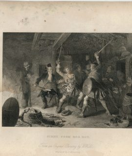 Antique Engraving Print, Scene from Rob Roy, 1837