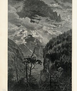 Antique Print, Cliffs of the Jungfrau; Mountain Chalet, 1871