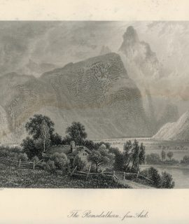 Antique Engraving Print, The Romsdalhorn from Aak, Norway, 1875