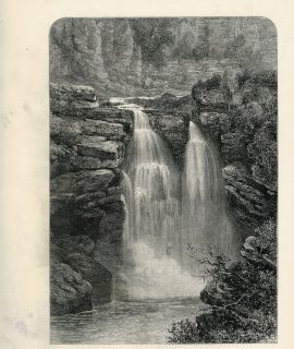 Antique Print, Falls of the Doubs, 1871