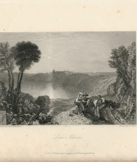 Antique Engraving Print, Lake Albano, 1836