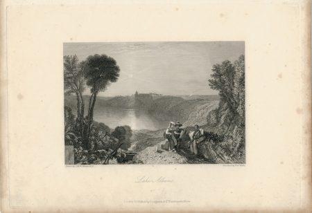 Antique Engraving Print, Lake Albano, 1836