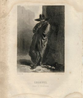 Antique Engraving Print, Cromwell, 1840