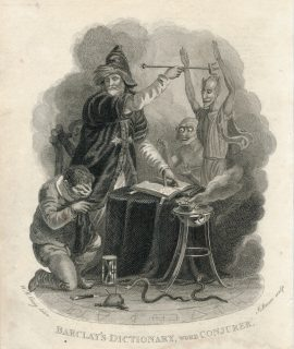 Antique Engraving Print, Barclay's Dictionary, Word Conjurer, 1813