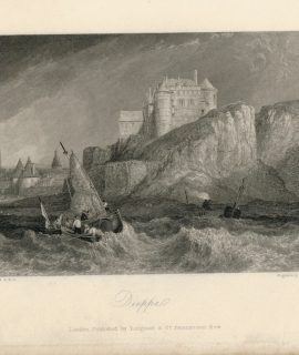 Antique Engraving Print, Dieppe, 1836