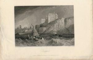 Antique Engraving Print, Dieppe, 1836