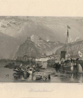 Antique Engraving Print, Ehrenbreitstein, 1836