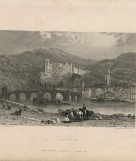 Antique Engraving Print, Heidelberg, 1833