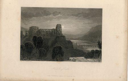 Antique Engraving Print, Heidelberg Castle, 1836