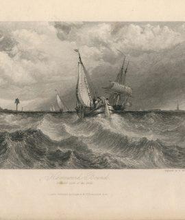 Antique Engraving Print, Homeward Bound, 1836