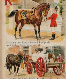 Rare Vintage Alphabetical Print, K, L, M, N, 1890 ca.
