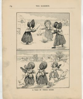 Vintage Print, A tale of Three Geese, Louis Wain, 1890