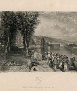 Antique Engraving Print, Marly, 1836