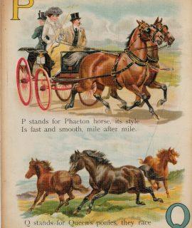 Rare Vintage Alphabetical Print, O, P, Q, 1890 ca.