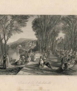 Antique Engraving Print, Palace of La Belle Gabrielle, 1836