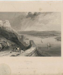 Rare Antique Engraving Print, Coblentz, Prusse, 1836