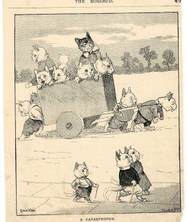 Vintage Print, A Catastrophe, by Louis Wain, 1890