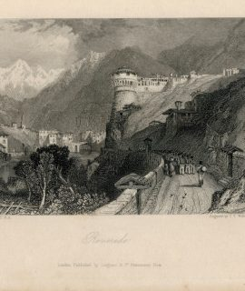 Rare Antique Engraving Print, Roveredo, 1836