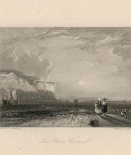 Antique Engraving Print, Sea Shore Cornwall, 1836