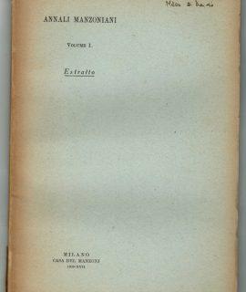 Annali Manzoniani, Vol. I, Estratto, Milano, 1939