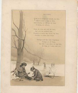Rare Vintage Print, Skating; scene on the beach, 1890 ca.
