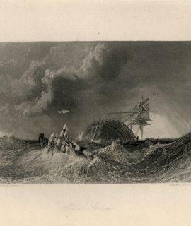 Antique Engraving Print, The Storm, 1836