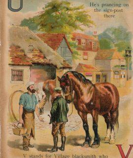 Rare Vintage Alphabetical Print, U, V, W, X, 1890 ca.