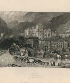Antique Engraving Print, Verres, Val d'Aosta, 1836