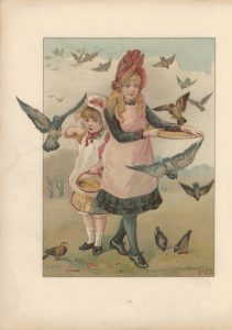 Vintage Print, Maidens and Swans, 1890 ca.